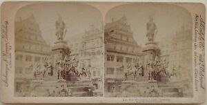 Lipsia Monumento Di La Guerre Germania Foto Stereo Vintage Albumina 1894