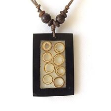BAMBOO NECKLACE WOOD RINGS ADJUSTABLE. ROUND CANE WOOD DISCS BLACK RESIN FRAME