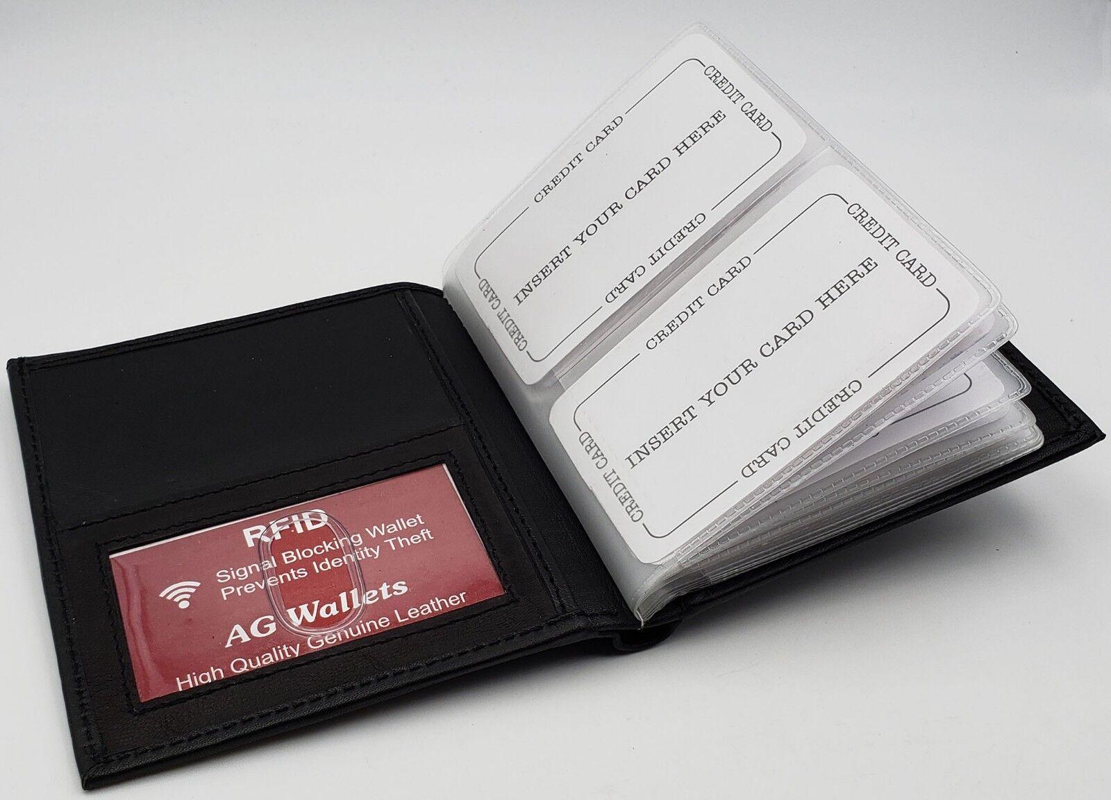 b0fd28ec4ec7 RFID Signal Blocking Leather European Hipster 24 Credit Card 2id Billfold  Wallet