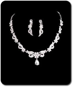 Luxus Schmuckset Halskette Ohrringe Metall Perlen Strass Hochzeit Braut Weiß