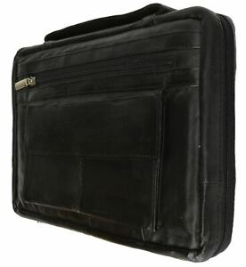 New-Large-Black-Genuine-Leather-Bible-Book-Cover-Case-Zippered-Organizer