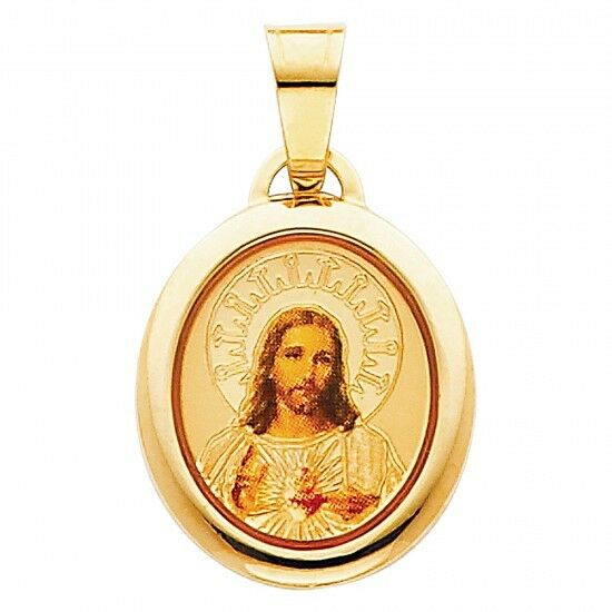 14K Yellow gold Jesus Heart Enamel Picture Religious Charm Pendant GJPT174