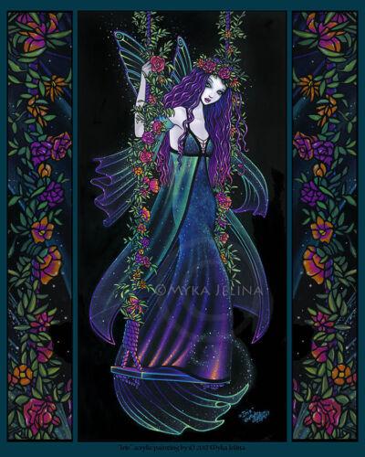 Bohemian Rainbow Flower Fairy Nebula Swing Iris Signed Myka Jelina Print 11x14