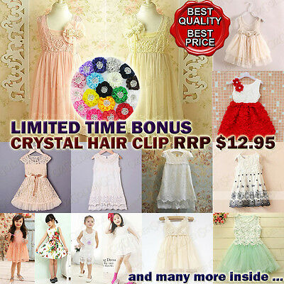 PREMIUM Flower Girl Dress Princess Vintage Special Party Wedding Lace 2-11Y