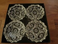 Vintage 1960s MCM Set of 4 Clear Cut Glass Ashtrays in Original Box Great Shape