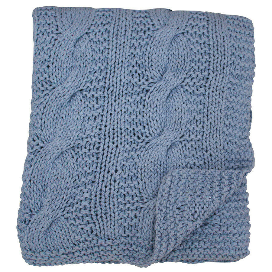 Krasilnikoff  Blanket Knitted Lavender Blau, 130 x 180 cm, Decke, grob gestrickt