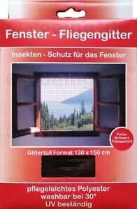 1x-FENSTER-FLIEGENGITTER-FLIEGENNETZ-130-x-150-cm-schwarz-Moskito-Insekten-Netz