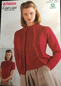 506698c9adb9 Patons Knitting Pattern Ladies Cardigan TWIN SET Jumper Size 32 44 ...