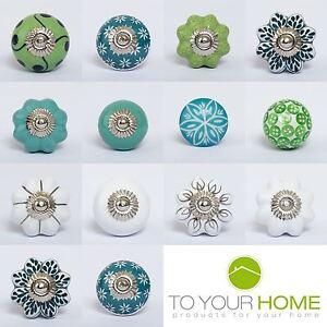 Green White Ceramic Resin Door Knobs Handles Furniture Drawer Pulls ...