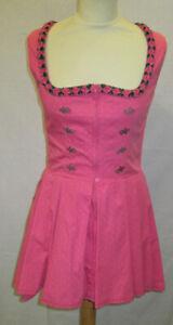 Damen-Trachten-Kleid-rosa-weiss-gepunktet-mit-gruen-rosa-Borte-Gr-36-von-Almsach
