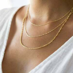 Solid-14K-Yellow-Gold-Singapore-Chain-Necklace-Delicate-Dainty-Necklace