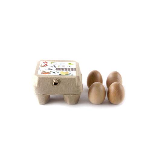 Estia 600253 Eier 4 braun in Packung für Kaufladen oder Kinderküche Holz NEU!#