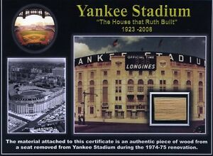 Genuine Piece of the ORIGINAL Yankee Stadium - Babe Ruth, Lou Gehrig, Yogi Berra