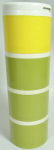 Tupperware-Spice-Tower-Container-Lot-Lid-Shaker-Top-Avocado-Green-Gold-Yellow
