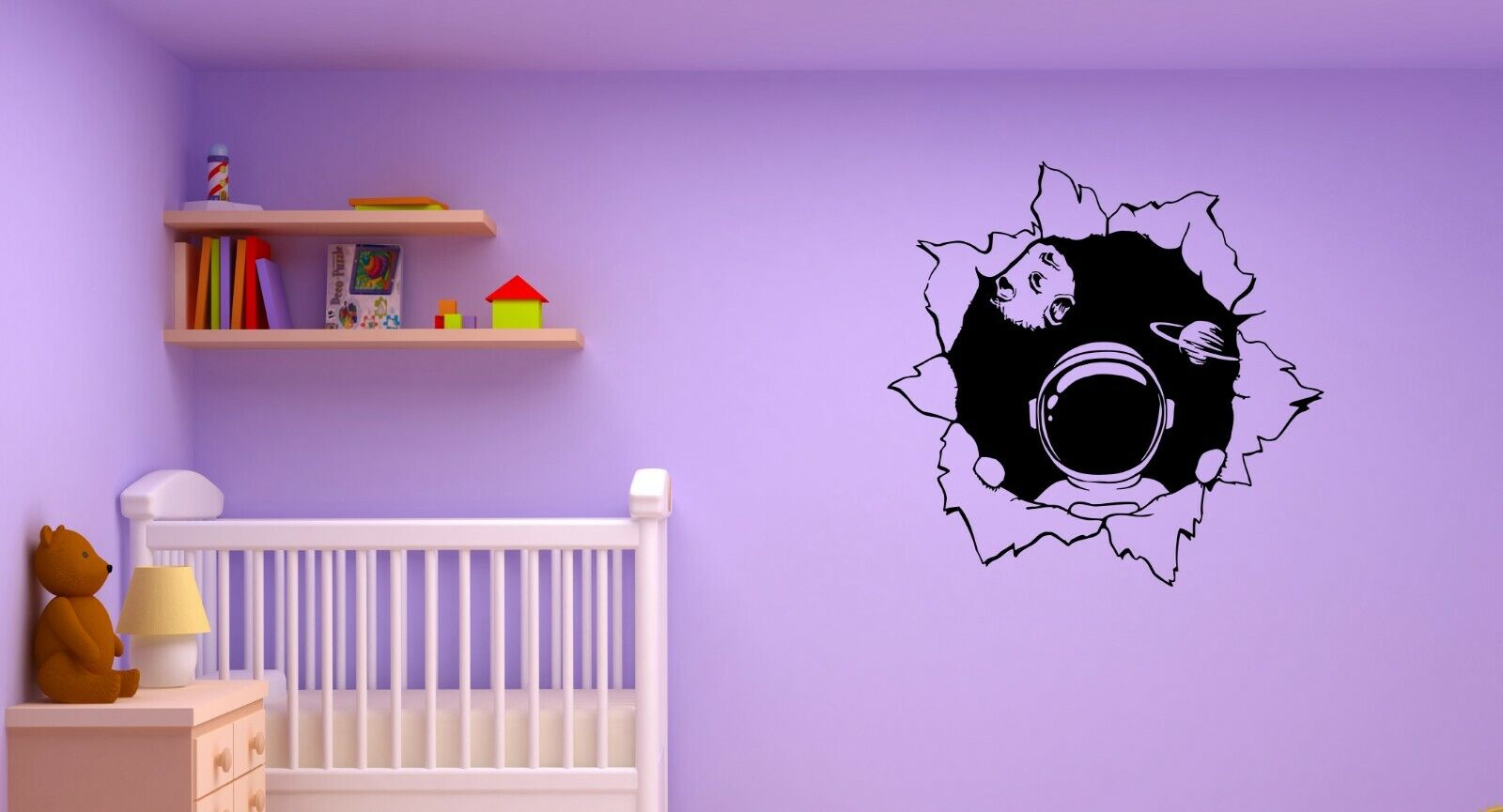 Wall Decal Space Astronaut Planets Universe Spacesuit Kids Room Sticker (ed1455)