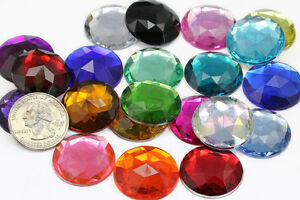 25mm-Flat-Back-Round-Acrylic-Jewels-High-Quality-Pro-Grade-21-Available-Colors