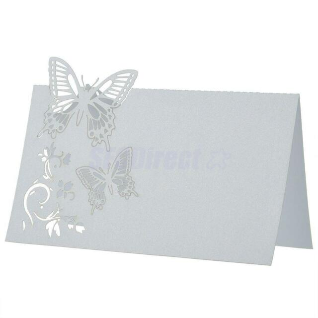 50PCS White Butterfly Laser Cut Wedding Party Table Name Place Cards Décor