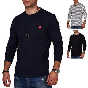 Jack-amp-Jones-Hommes-Chemise-manches-longues-O-Neck-T-Shirt-Basic-Casual-Camouflage-Shirt