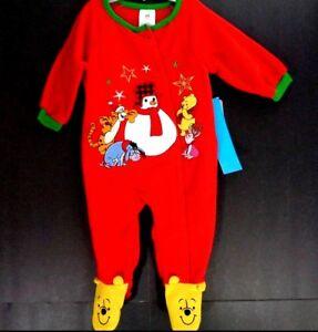 Winnie-The-Pooh-Christmas-Footed-Sleeper-Baby-Pajamas-Disney-Red-One-Piece