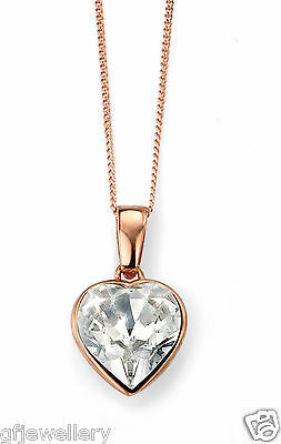 9CT ROSE GOLD PLATED SOLID 925 STERLING SILVER SWAROVSKI-CRYSTAL HEART PENDANT