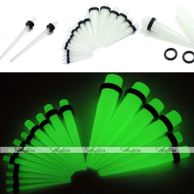 2x Acrylic Glow in the Dark Taper Ear Plug Gauge Stretcher 14G-00G Jewelry Gift
