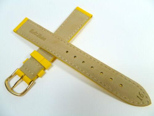 16 mm GELB UHRENARMBAND ARMBAND LACKLEDER UHRENBAND LEDER 1616