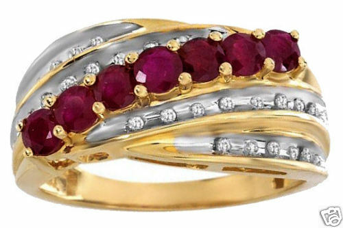 .85ctw Diamond & Ruby Ring 14K Solid 2-Tone gold