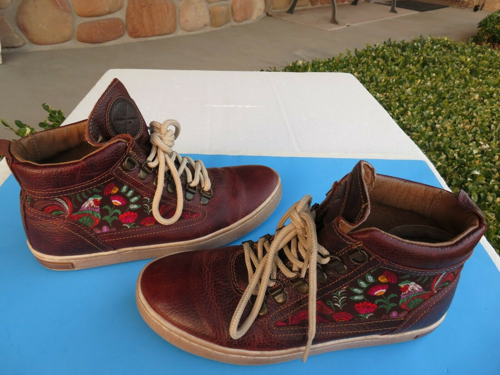 Inkkas Camping Boots Floral Rooster Textile/ Brown Leather Lace Up Booties Sz 8