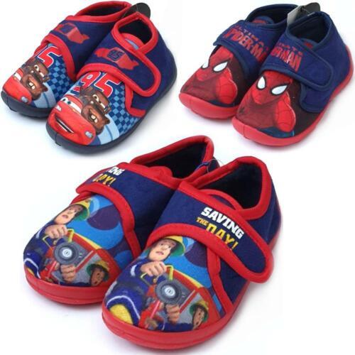 Kinder Hausschuhe für Jungen Feuerwehrmann Sam Spiderman Cars 2-6 Jahre Neu