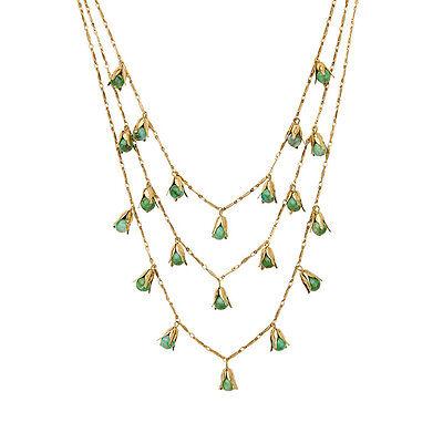 Dot & Line multi strands layered Versatile blue dot gold leaf necklace