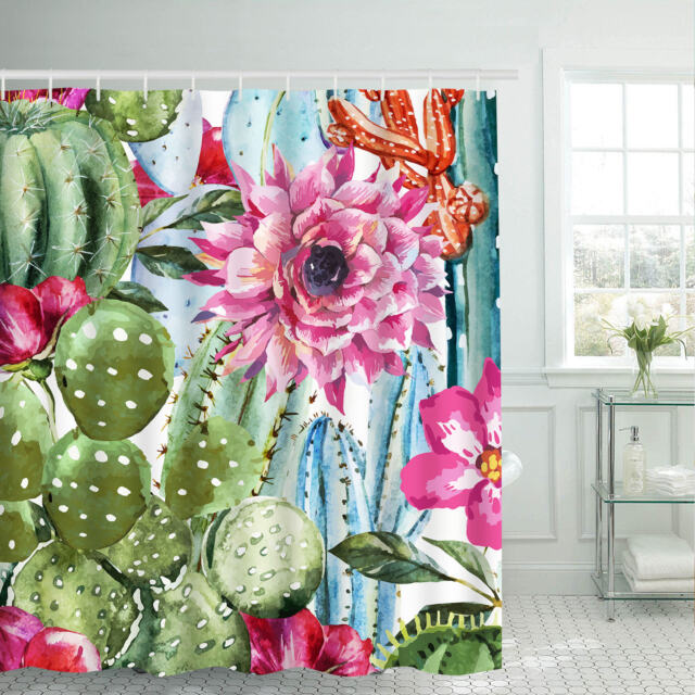 Art Cactus Fabric Shower Curtain Waterproof Polyester Fabric /& Hooks Bathroom