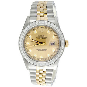 Mens 36mm Rolex DateJust Diamond Watch 18K Two Tone Jubilee Champagne Dial 2 CT.