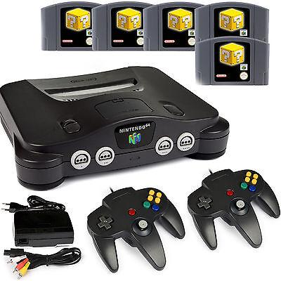 N64 / Nintendo 64 - Konsole + 2 Controller Black + alle Kabel + 5 Spiele