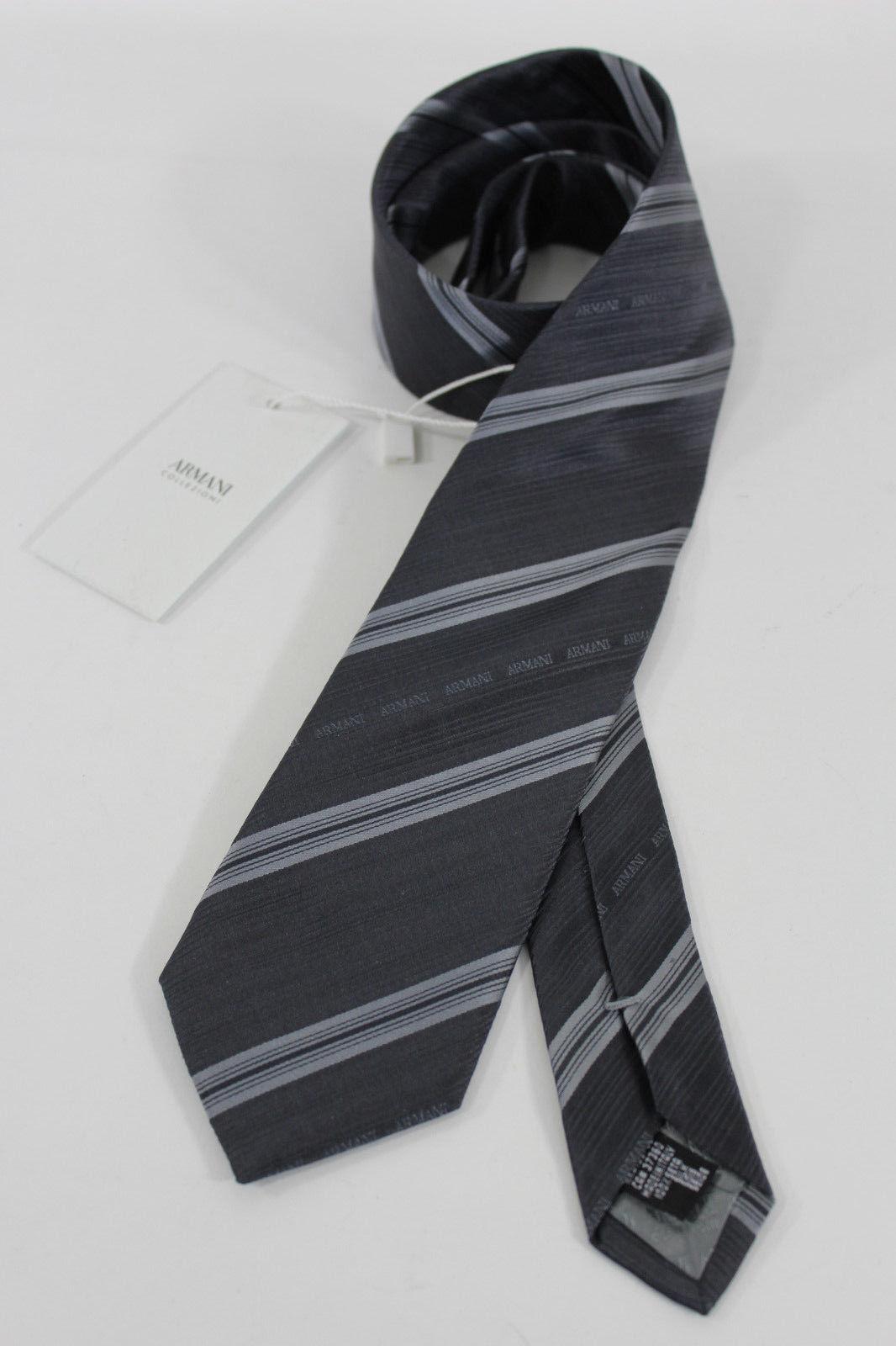 Authentic Armani Collezioni Men Silk Suit Neck Tie Dark Gray Striped Italy Made