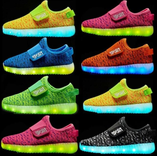 KIDS LED Flash Light Up USB Charge Shoes Trainers Sneakers for Boys /& Girls