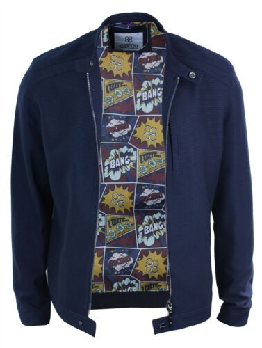 Mens Smart Casual Zipped Nehru Grandad Collar Retro Biker Jacket Navy Blue