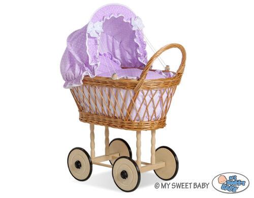 Puppen & Zubehör Korb Puppenwagen Lisbeth Farbe Natur mit Holzgestell 10 Farben Babypuppen & Zubehör