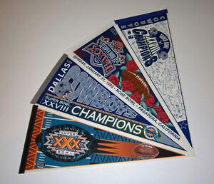 4-1990s-Dallas-Cowboys-Super-Bowl-pennants-lot-SB-27-28-30-Troy-Aikman-Emmitt