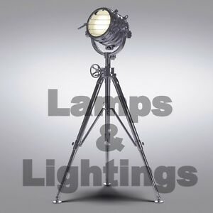 Image Is Loading Hollywood Movie Style Floor Tripod Lamp Modern