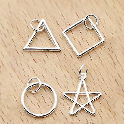 925 Sterling Silver Square Triangle Circle Star Necklace Earring Charm Pendant