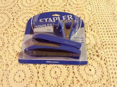 BLUE Office Depot Stapler Desk Set  ITEM 556-187 FREE SHIPPING
