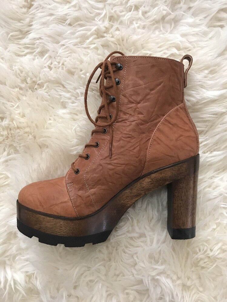 175 Kelsi Dagger Brooklyn Farren Vintage Platform Fur Lined Lace-Up Boot 9.5