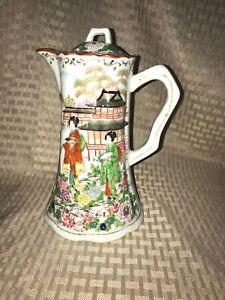 Vintage-Porcelain-Asian-Chocolate-Tea-Pot-w-4-Geisha-Girls