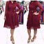 thumbnail 4 - Women-Evening-Cocktail-Dress-Plus-Size-Lace-Skirt-Casual-Dresses-Bow-Long-Sleeve