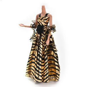 Zebra-stripe-Golden-and-Black-Luxury-Grown-Dress-for-s-with-Shawl-Xmas-HT