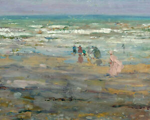 Dream-art-Oil-painting-impressionism-seascape-people-ocean-waves-by-beach-canvas
