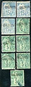 BENIN-1892-Yvert-3-5-meist-gestempeltes-LOT-D6990