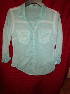 Maurices-Juniors-Small-Long-Sleeve-Button-Down-Shirt-Teal
