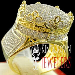 10k Gelbgold Auf Silber Krone Form Herrenring Rund Schliff Künstlicher Diamant