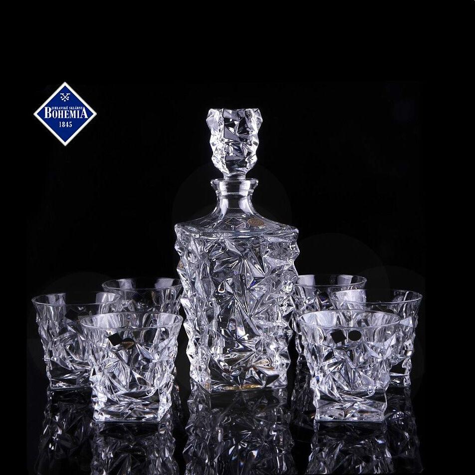 Whisky set, carafe 0,9 L. +6 verres, Bohemia bleikristall 24%, série Glacier
